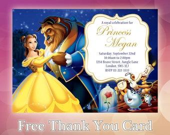 Beauty And The Beast Birthday Invitation / Beauty And The Beast / Belle Birthday / Disney Birthday / Birthday Invites / BB01