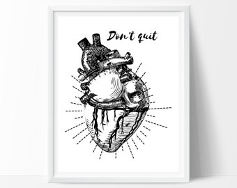 Anatomical Heart ; Don't give up ;Print Bedroom Print Dorm Print Dorm Decor Dorm Art Wall Print Typography Print Heart Print Printable Art