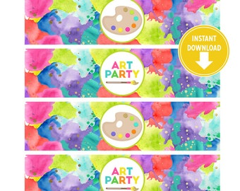 Neon Art Birthday wrappers for Water Bottles, Printable Labels [INSTANT Download]