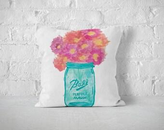 Mason Jar Pillow, Decorative Pillows, Watercolor Art, Mason Jar Decor, Throw Pillows, Boho, Pillow Cover