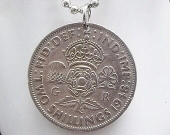 England Coin Necklace, 2 Shillings Coin, Coin Pendant, Ball Chain, Men's Necklace, Women's Necklace, 1948