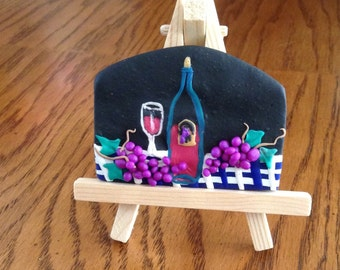 Polymer clay mini painting: Time for wine-Cabernet