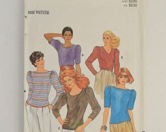 1980s Butterick Vintage Sewing Pattern 4109 Long or Short Sleeve Pullover Stretch Knit Top w/ Scoop, Bateau or V Neckline Size 6