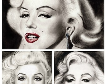 Set of THREE Different Marilyn Monroe Art Prints, Marilyn Monroe Portrait, Marilyn Monroe Picture, Marilyn Monroe Wall Decor