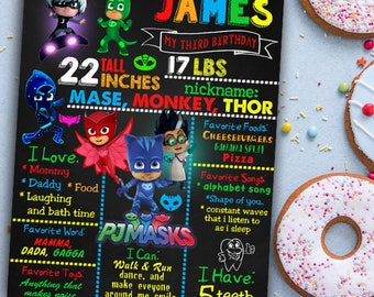 PJ masks Chalkboard Sign, PJ masks Chalkboard poster, Birthday Chalkboard Poster, pj masks party, PJ Masks Birthday Chalkboard Poster,