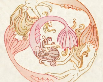 DIY Mermaid Circle Hand Embroidery pattern Nautical design decor PDF download hand embroidery patterns designs