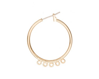 2pcs Ear Hoops earring, round hoop design with 5 open loops, with 14k gold finished jewelry alloy metal, 4mm surgical stainless
