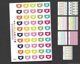 Mini Heart Flags -  Planner Stickers  - Repositionable Matte Vinyl to suit all planners