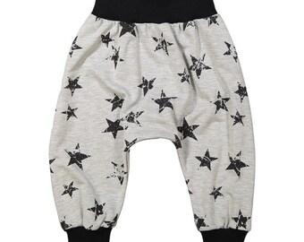 Zwart / grijze sterren French Terry Harem broek