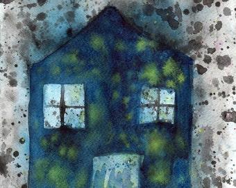 Watercolor Painting: Watercolor Illustration -- Art Print --  Dream House -- 11x14