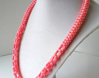 """Coral Statement Necklace 21"""" waived  925 silver closure free shipping US"""