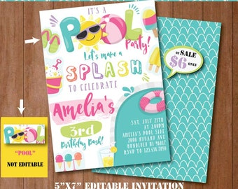 Pool Party Invitation-Self-Editing Printable Pool Birthday Invite-Summer Party-Pool Slide-splash Party-First Birthday-Any age-A131-G