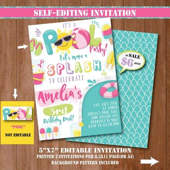 Pool party invitation self editing printable pool birthday stopboris Choice Image
