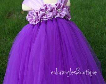 Flower Girl Dress purple Orchid tutu dress baby dress toddler birthday dress wedding dress 1T 2T 3T 4T 5T 6T- 9T
