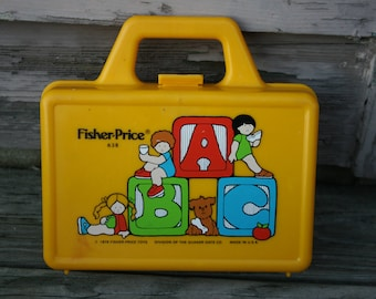 Fisher Price Toys Yellow Plastic School Box Quaker Oats Made in USA 1979 1970s 1980s Lunch Carry Pencil Case