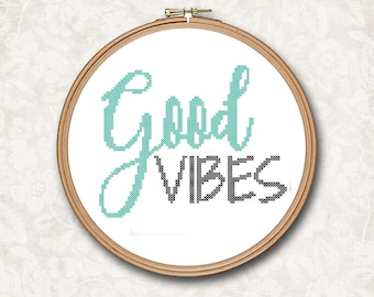 Quote - Good Vibes Text Counted Cross Stitch Pattern - PDF Digital Download