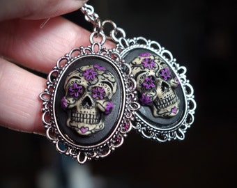 Pair Black and Purple Sugar Skull Day of the Dead Dia De Los Muertos Hand Made Sterling Silver Ear Wires Earrings