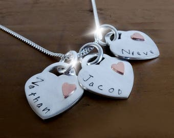 Copper Anniversary Gift, 7th Seventh Wedding Anniversary, Personalised Three Hearts Necklace, Silver and Copper 3 Heart Necklace with Names,