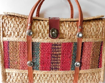 Vintage Straw Purse Wicket Beach Bag Ethnic Global Style