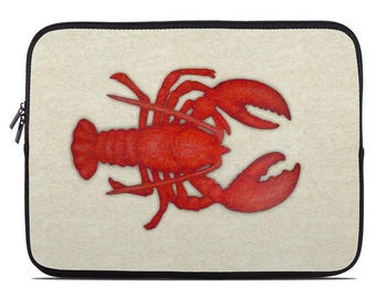 Nautical Tablet Sleeve, Tablet Case, Laptop Case, lobster laptop cover, laptop sleeve, to fit 10, 13, 15, 17 inch, student gift