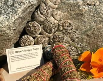 DESERT MAGIC SAGE Smudge Stick | Sage Bundle for Ceremony, Meditation, Altar, Home Cleansing, Positive Energy, Cleanse, Wicca Smudging Kit