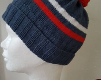 Hand knitted Blue Hat supporting t 4/6 years