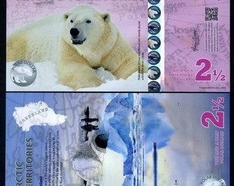 Arctic Territories, 2 1/2 dollars, 2013, Polymer, UNC, Polar Bear