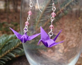 Hand-Folded Origami Crane Earrings with Swarovski Crystals, Silver-Plated Wire and NICKEL-FREE Sterling Silver Ear Wires, Japanese