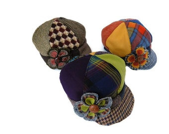 Newsboy Hat, Little Girls Newsboy Hat with flower, Girls winter hat, Kids Photo Prop, Recycled Mens Suit Coat, Vintage Hat, Girls winter hat