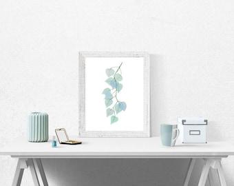 Teal, Green Leaves, Printable Art Digital Download Watercolor Painting, Wall Art, Home Decor