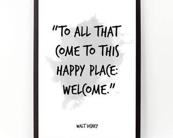 To all that come (...), Walt Disney quote, Alternative Watercolor Poster, Wall art, Motivational quote, Inspirational quote, Watercolor art.
