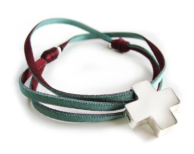 Collar Cruz de plata/HOPE/cinta double vista/elástico.