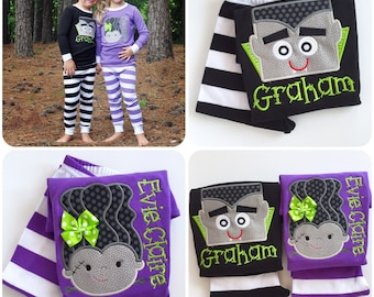 halloween pajamas childrens pajamas in purple or black dracula or bride of dracula with name sizes 6 month up to kids 12