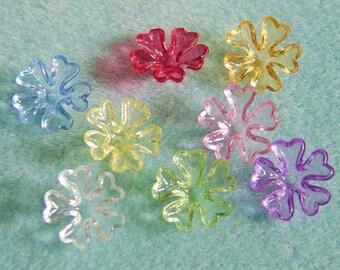 Transparent Lucite Acrylic Flower Cap Bead Mix 16mm 433