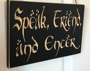 """6"""" x 10"""" Rustic Distressed Engraved Carved Front Door Hanger Welcome Wood Sign Hobbit Lord of the Rings Tolkien Speak Friend and Enter LOTR"""