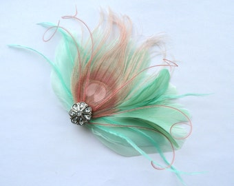 IVY Mint Green and Blush Pink Peacock Feather and Crystal Veil Hair Clip, Feather Fascinator, Bridal Hair Piece