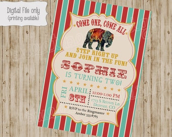 Circus Birthday Invitation, Circus Baby Shower Invitation, Circus, Birthday Invitation, Circus Party