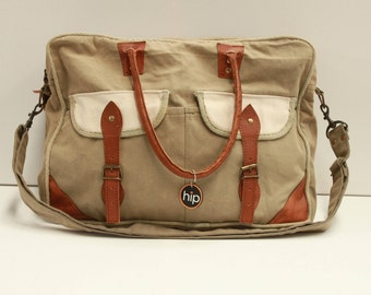Canvas Messenger Bag with leather accents