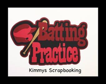 Batting practice baseball Scrapbook Title Premade Paper Piecing