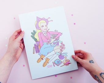 Riverdale Witch Series Betty Cooper, A4, Pastel, Plants, Veronica Lodge, Cheryl Blossom, Archie Comics, Art, Illustration, Print, Poster