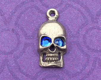 Handmade Skull Charm with Sapphire Crystal Eyes, September Birthstone, Lead Free Pewter, about 17mm x 9mm