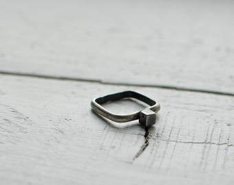 925 Silver ring, square, modern, minimalist stacking ring, stacking ring, black and white, oxidized ring