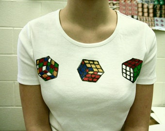 Rolling Rubix cube triple mono print ladies fit T-shirt