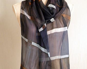 Bamboo Inspired - Charcoals/Slates Hand Painted Silk Chiffon Scarf - Long and Skinny
