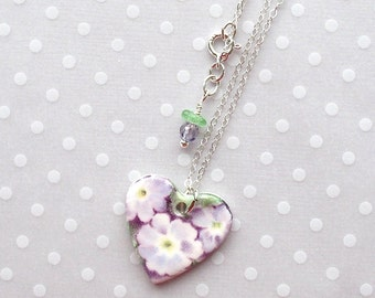 "SALE! Heart Necklace. Lavender Flowers. Porcelain. Glass Beads. Purple. Violet. Ceramic. Green. White. Shabby Chic. 18"" Sterling Chain"