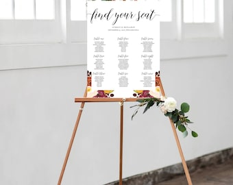 Seating Chart, Watercolor Floral Seating Chart, Wedding Seating Poster - Customizable - Printed