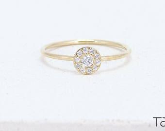 Diamond Ring, Gold Diamond Ring, Circle Diamond Ring, Engagement Gift, Diamond Dot Ring, Forever Ring, Delicate Jewelry, Promising Ring