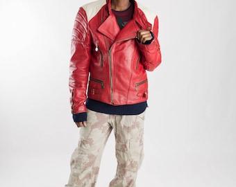 Red and white leather motorcycle jacket / Vintage cafe racer jacket / 90s Men's leather moto jacket / Ladies leather biker jacket / Size S