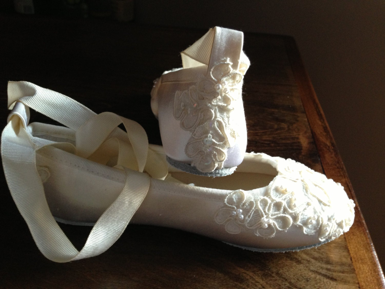 Custom Bridal Lace Flats Ballet Style Bride Bridesmaid Ankle
