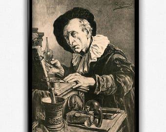 Biology, Chemistry, Alchemy Vintage Print - Science Poster - Chemistry Poster - Office Decor - Office Art - Professor Decor - Professor Art